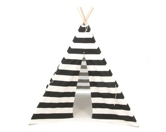 SALE!! Poles Included Teepee Play Tent Black and White Stripe Four Panel