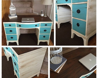Turquoise and White Antique Desk- Painted Furniture Denver and Colorado Springs, Refinished Furniture, Turquoise, White, Shabby Chic, Office