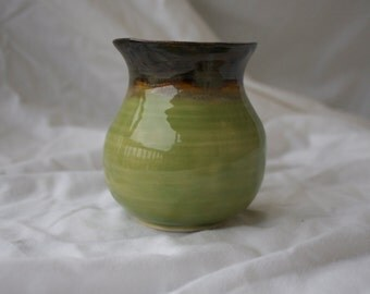 Bud Vase in Celadon and Tiger's Eye (light green and brownish black)