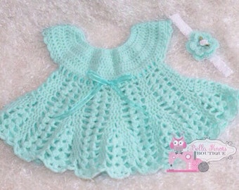 Aqua Mint Crochet Baby Dress , Baby Easter Dress , Baby Crochet Dress , 3-6 months Other sizes and colors available