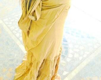 Natural Ruffle Long Wrap Skirts << Beige >>