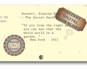 Garden Quote~ The Secret Garden Library Card Catalog Card Digital File