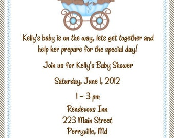 20 Brown and Blue Baby Shower Invitations Envelopes Included
