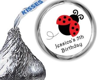 108 Ladybug Mint Hershey Kiss Labels Personalized Favors