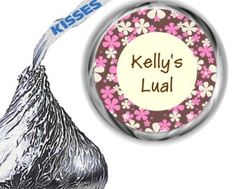 216 Pink and Brown Birthday Party Hershey's Kiss Labels
