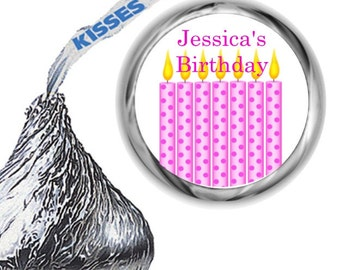 108 Pink Birthday Party Hershey's Kiss Labels