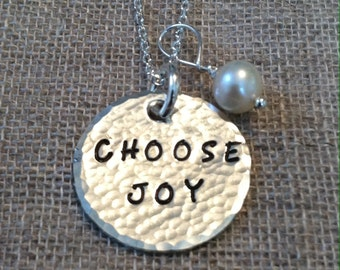 "Hand Hammered & Hand Stamped Sterling ""Choose Joy"" Necklace"
