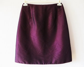 Vine Red Quilted Skirt Warm Knee Length A Line Burgundy Skirt Hand Made Size Medium