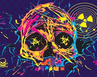 Nuclear Skull Fridge Magnet 7cm by 4.5cm,