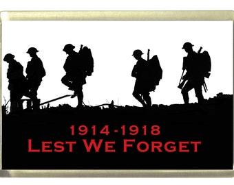 World War 1 Commemorative - Lest We Forget,  Fridge Magnet 7cm by 4.5cm,