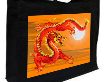 Chinese Sky Dragon Fantasy Shopping Bag with gusset and long handles, 3 colour options