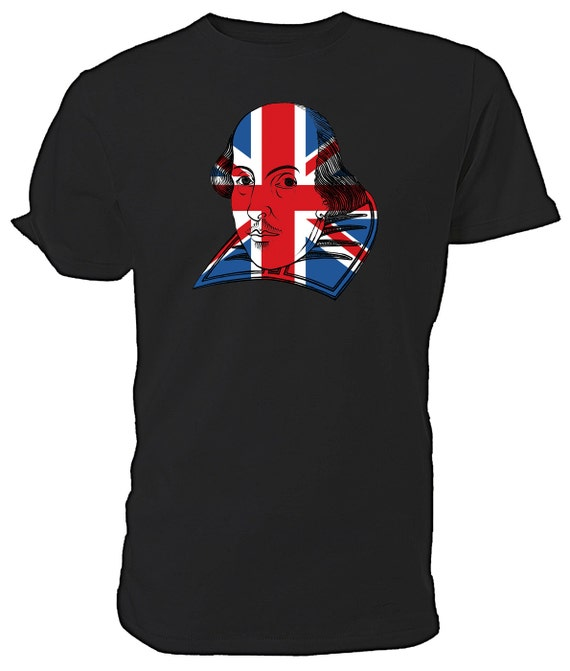 Best of British Union Jack Flag William Shakespeare T shirt. classic round neck short sleeved choice of sizes and colours,