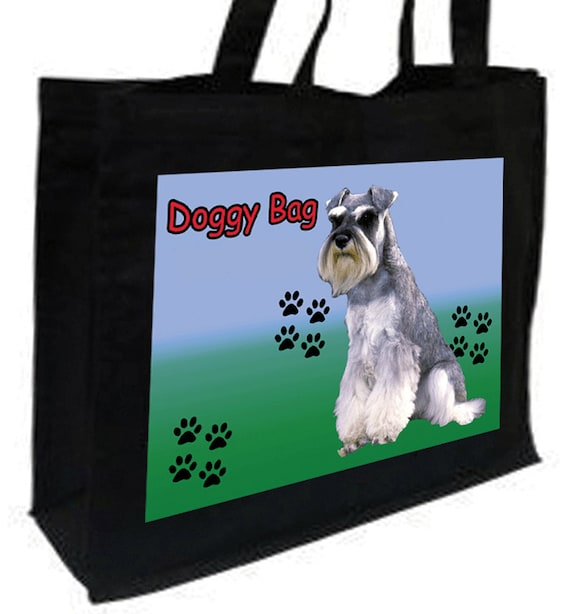 Schnauzer Doggy Bag Shopping Bag with gusset and long handles, 3 colour options