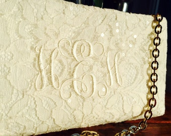 Ivory Lace Monogrammed Clutch