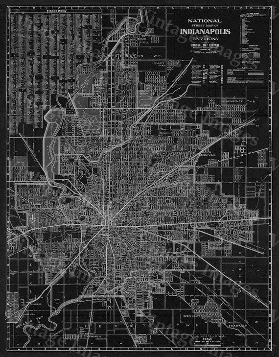 Old Indianapolis Map 1921 Antique Restoration Hardware Style Black Indianapolis Street Map Fine Art Print Indy Wall Decor Indiana wall art