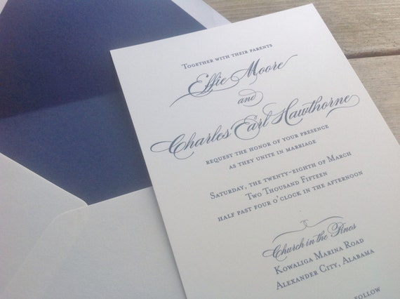 Wedding Invitation Formal: Calligraphy Wedding Invitation Formal Invitations Modern