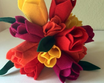 Felt Tulip Flower Bouquet with Leaves