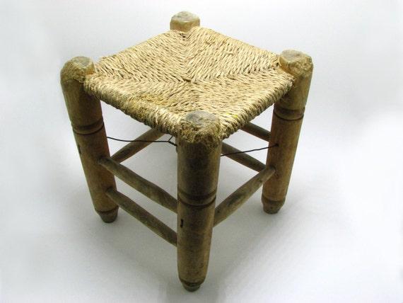 Vintage Wicker Weave Stool Middle East Furniture Ottoman