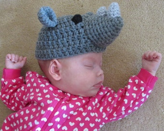 Rhino Hat PDF Crochet Pattern - Newborn to Adult INSTANT DOWNLOAD