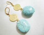 Modernist Turquoise and Gold Handmade Earrings, OOAK ,Turqoise Nuggets and Hammered Gold Tone Discs, Long Dangle Statement Gold Earrings