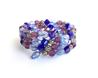 Blue and purple crystal memory wire bracelet