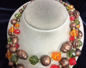 Vintage Signed Germany Chunky Triple Stranded Colorful Beaded Necklace