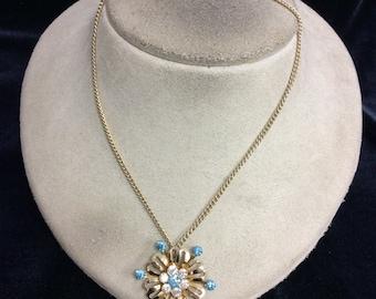 Vintage Blue & Clear Rhinestone Floral Pendant Necklace