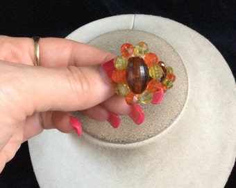 Vintage Yellow & Orange Beaded Earrings