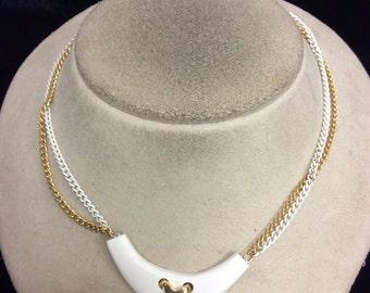Vintage Double Stranded White Enameled X Pendant Necklace