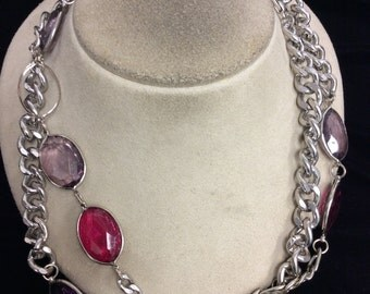 Vintage Long Shades Of Purple Stone Necklace