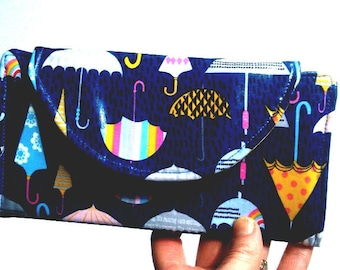 Made to order Weather Girl's Wallet // Wipe Clean Wallet // Laminated cotton Purse // Fold-up Wallet