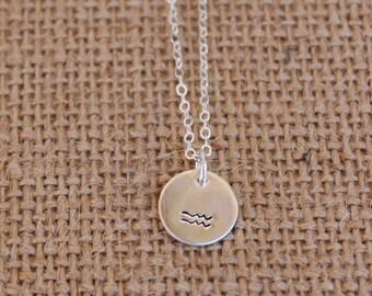 Sterling Silver Aquarius Necklace, Aquarius Sterling Silver Zodiac Necklace, Aquarius Zodiac Necklace, Aquarius Necklace, Zodiac Necklace