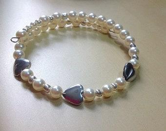 Pearl Bracelet-Keepsake-Heart-Memory Wire-Bridal Bracelet-Awareness-Friendship-Swavorski White Pearls-Cross or Heart Charm