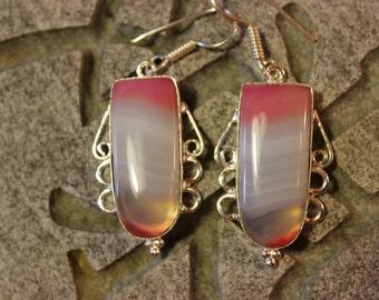 Pink & white botswana agate earrings