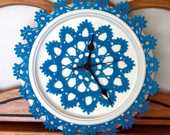 "Crocheted Doily Clock, approx. 9"" diameter, 12 point center doily, picot edge trim"