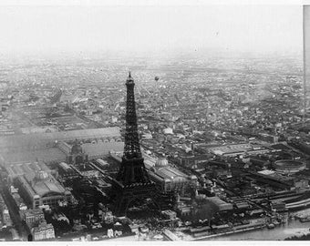 Aerial view of Paris, France, from balloon Eiffel Tower 1889: Photo Print