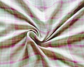 "Designer fabric by yard--J. Crew Double layered plaid cotton gauze, lavender,lime, white, taupe, 57"" wide"