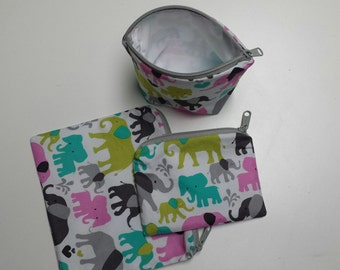 Reusable Sandwich Bag Set,Elephant Snack Bags,Baggies, Make-Up Bags,Charger Bags, Snack Bags,Machine Washable, Nylon Lining, Zipper Closure.