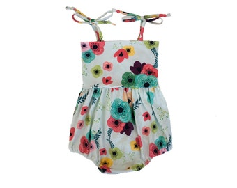 Baby Toddler Sunsuit Bubble Romper in Blue Garden Floral Print Girls