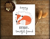 Bestie Card // Birthday Card Friend // Fox // Happy birthday card best friend