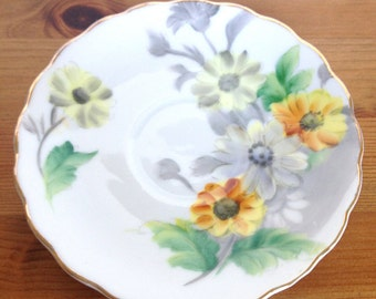 Vintage Kasuga ware saucer discontinued Daisy pattern hand painted
