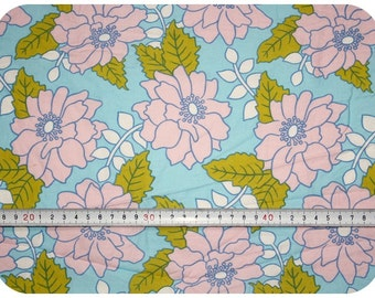 Floral fabric new in retro vintage style - blue, pink and green