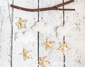 Simple Modern Baby Mobile - Clouds and Stars Hanging from Branch - Metallic Gold, White, Parchment and Ecru