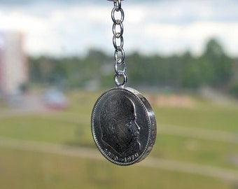 2 coins pendant  for key//Russian  jewelry//Lenin  pendant//Key pendant//1 ruble USSR//Key//Russian Soviet coin//Lenin ruble//