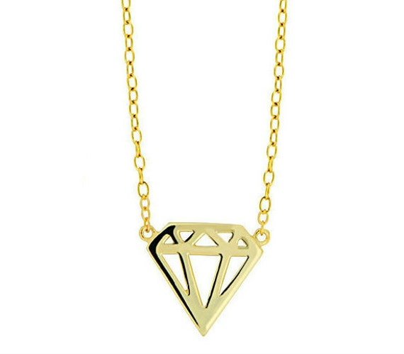 Diamond shape pendant necklace sterling silver gold plated. Perfect for layering.