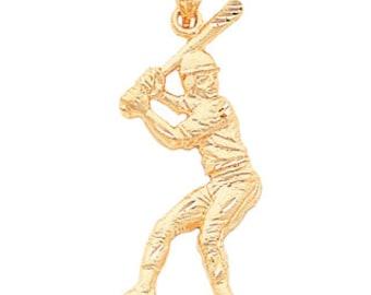 14k gold baseball player, baseball batter, baseball charm, baseball, sports