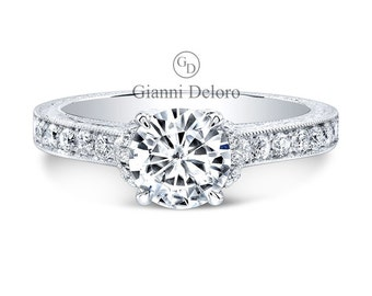 Solitaire Micro Pave Engagement Ring 6.5mm Round Cut Forever Brilliant Moissanite and 0.45 ct.tw Round Natural Diamonds