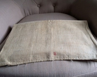 Antique Homespun Linen Bolster Cover
