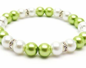 White and Lime Green Pearl beaded Bracelet, White Stretch Elastic Bracelet, White and Green Bracelet, Bridesmaid Bracelet, Bridal jewelry
