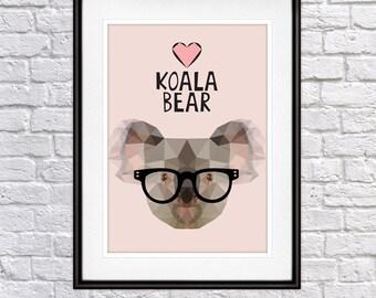 Poster Koala with glasses Digital Print, Wall Decor, Gift for animal lover Psiakrew